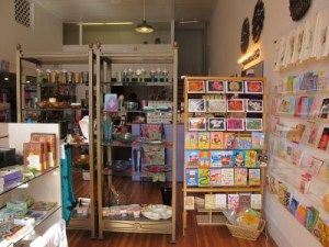 Customers can find glassware and a large selection of greeting cards.