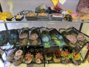 Jenny K is stocked with beautiful gifts such as these floral slippers.