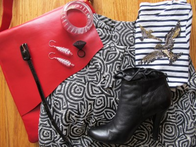Have fun mixing black and white graphics. Throw in Carmela Rose vintage Lucite earrings, clear chunky bracelet etched with fun words from Anthropologie, MoMA 3D ring made of plastic (NYC), ruffled booties, skinny patent belt, and glossy red book bag from the Fickle Bag (Berkeley, CA).
