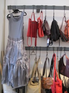 An ethereal dress and lots of leather purses.