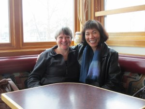 Kathy and me, Village Book Café, Bellingham, Wash., April 2013.