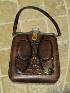 Art Nouveau hand-tooled handbag.