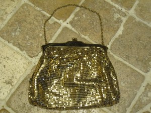 Whiting and Davis gold mesh purse.