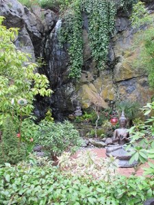The soothing waterfall and garden at Caravan Gallery, La Conner, Washington.