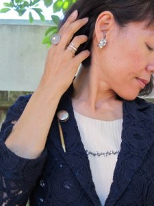 Trying out my vintage dance card pencil pin with reclaimed vintage button ring, and vintage Weiss earrings.