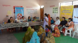 Maria and her colleagues at a meeting with the BGMS NGO, which is dedicated to women empowerment. (Photo credit: Arun Chaube, India@75)
