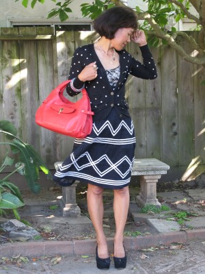 It's a breeze to mix patterns with black-and-white separates. Just add a bright red handbag for contrast.
