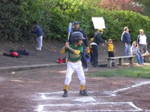 Jacob at the plate, Pinto Seals, spring 2009.