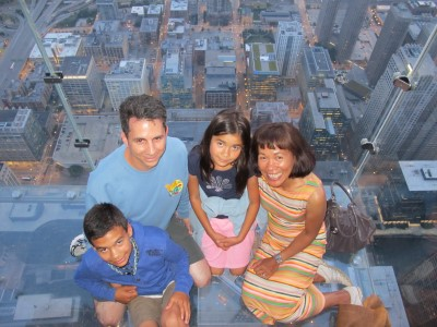"On the ""Ledge,"" with downtown Chicago below us."