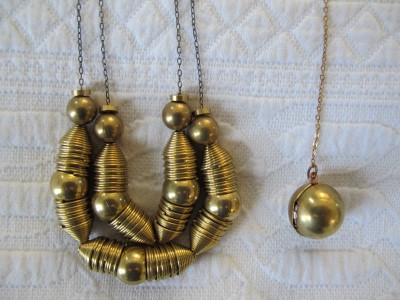 Laura Lombardi's necklaces are made from reclaimed vintage brass findings.