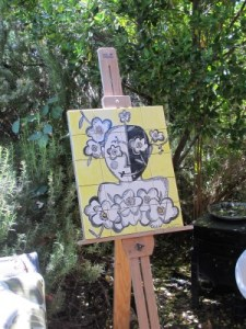 Tile painting in the garden.