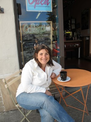 Alissa Houser, executive director of The Pollination Project, at Cafeina Organic Café in Albany, CA.