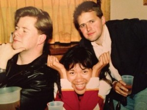 At the Orange Grove, Syracuse, NY, assuming our writers' poses - John Farrell, me, and Jack, May 1990.