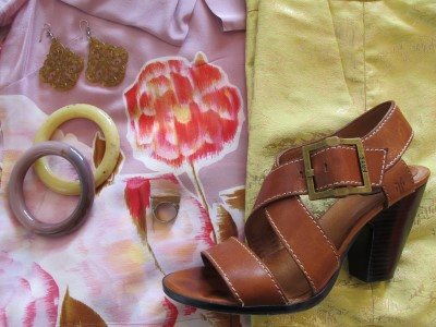 Silky flowers and shiny brocade pair up with Frye sandals and accessories.
