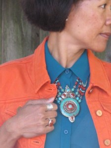 Statement necklace of turquoise and coral purchased from a vendor at the El Cerrito 4th of July celebration.