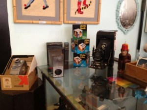 Part of an impressive collection of vintage cameras.