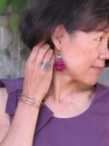 Carmela Rose vintage earrings and Sundance ring and bracelet.