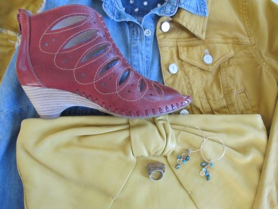 Mix washes of denim with colored denim and equally colorful accessories.