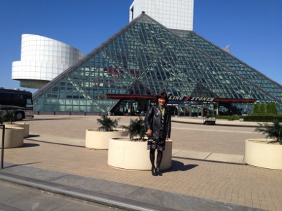Outside the Rock and Roll Hall of Fame and Museum.