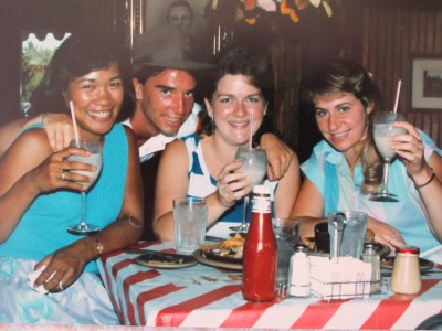 "July 1986: Cookies and cream drinks, TGIFriday in Sacramento, and another photo with a waiter. Our line to waiters: ""You have expressive hands."" It works every time for a reaction. Pastels, blues, florals. and stripes."