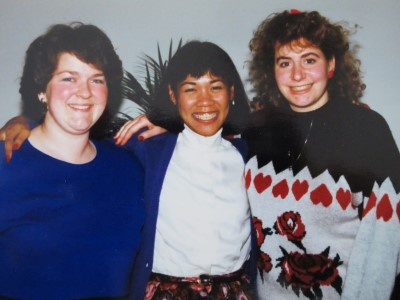 Christmas 1987: Jewel-tone or colorful sweaters. My uni: cardigans, soft blouses, and floral skirts.