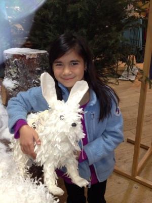 Last holiday, Isabella fell in love with a bushy paper rabbit at Anthropologie.