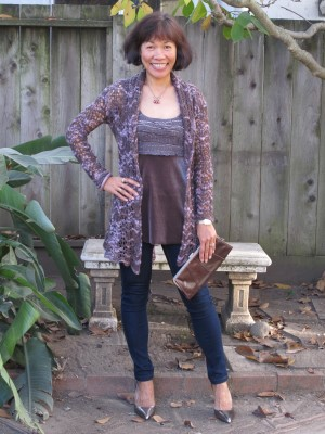 "A ""vintage"" Corey Lynn Calter open-weave sweater (Calter was at the recent Anthropologie event in Corte Madera last month), velveteen and smocked smokey mauve blouse, and jeans."