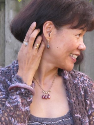 Burgundy and mauve accessories: Carmela Rose earrings and necklace, Anthropologie bangle, Sundance rings, and In God We Trust band (NYC).