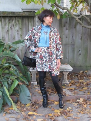 Bold ethnic print jacket and skirt brightens a wintry day.