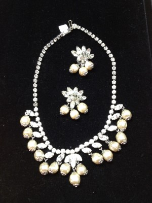 The freshwater pearls reminded me of Miriam Haskell. An unusual combination of rhinestones and freshwater pearls.