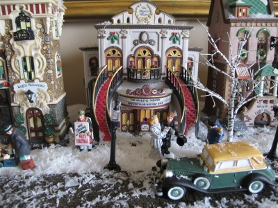 The Majestic Theater graces this village on our dining room sideboard.