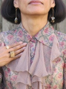 Dangly earrings from Anthropologie, Sundance rings, and beloved chunky Lava 9 ring (Berkeley, CA).