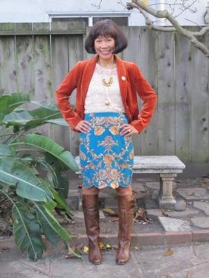 Mixing old and new for the holidays: Burnt orange velveteen jacket from J. Crew years ago, lace blouse and turquoise embroidered skirt.