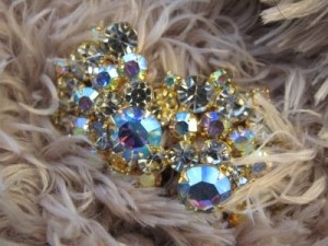 Gorgeous vintage Weiss brooch amid the fluff.