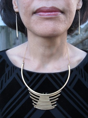 Laura Lombardi necklace (Eskell, Chicago) and Abacus earrings (Portland, ME).