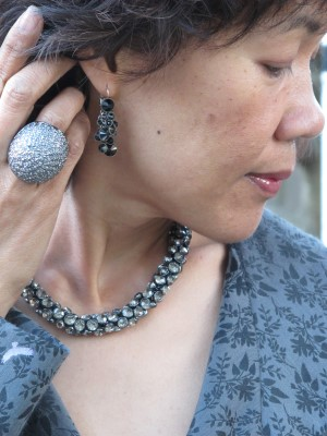 Statement BCBG Max Azria ring and necklace and Personal Pizazz earrings.