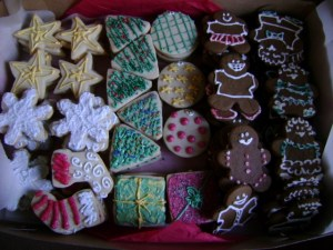 A box of Christmas cookies.