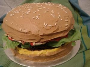 A sweet hamburger cake.