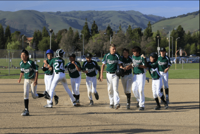 In their only win over the weekend in Fremont, CA, out of four games, the Hornets get shutout pitching the last two innings and in the bottom of their last inning, they score six runs to come from behind, 8-7. The joy, in an otherwise lackluster weekend, is palpable.