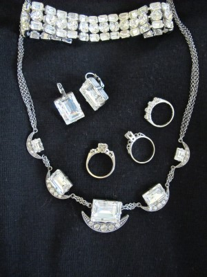 Close-up of vintage and contemporary icy jewelry.
