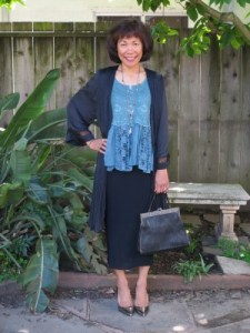 H&M duster from their Conscious Collection and an antique Edwardian handbag from the Brooklyn Flea Market.