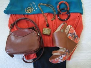 Tie colors together with splashy platform sandals and bring in vintage touches (reclaimed vintage matchbox necklace and my own early 1990s vintage Talbots equestrian-style crossbody bag.