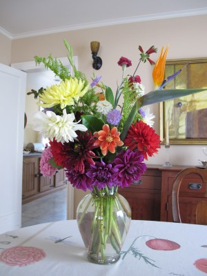 July 1st anniversary bouquet for my friends Kelly and Scott side 2, with new deep purple dahlias.