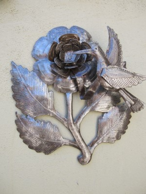 Of the five metal sculptures, this 3D flower and bird is my favorite.