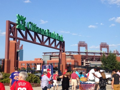 Citizens Bank Park as you come out of SEPTA train station.