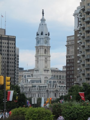 City Hall with bronze statue of William Penn on top.
