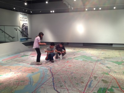 Checking out the room-sized map of the city at the Philadelphia History Museum.