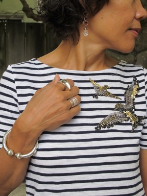 Complementing the bird embellishments on my shirt: Carmela Rose earrings, Sundance stack of rings, Angela Cummings statement ring (Urbanity, Berkeley, CA), and Se Vende Imports (Portland, ME) bracelet.