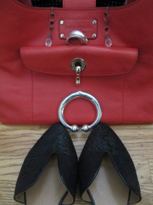 Kate Spade bright red handbag and GeeWaWa flats with great scrollwork detail make the jewelry stand out.