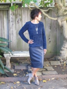Having a navy moment: eyelash sweater, vegan pencil skirt, and gray booties.